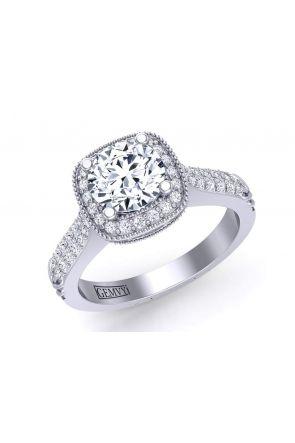 Surface pavé unique vintage style diamond engagement ring HEIR-1345-HB HEIR-1345-HB