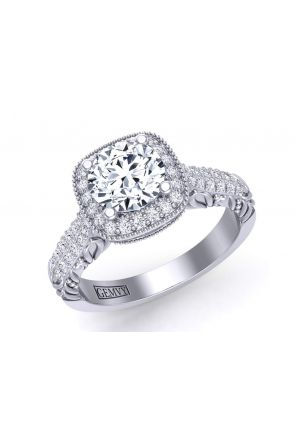 Antique filigree victorian style halo round diamond engagement ring HEIR-1345-HC HEIR-1345-HC
