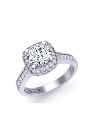 Simple minimalist vintage inspired diamond engagement pavé setting HEIR-1345-HD HEIR-1345-HD