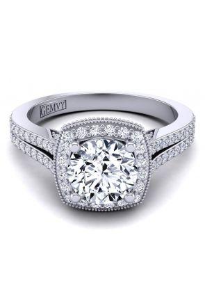 Split shank cathedral pavé halo diamond ring HEIR-1476-A HEIR-1476-A