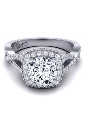 Unique pavé twisted band halo engagement ring HEIR-1476-D HEIR-1476-D