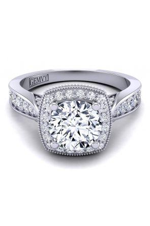 Graduated diamond band halo engagement ring HEIR-1476-E HEIR-1476-E