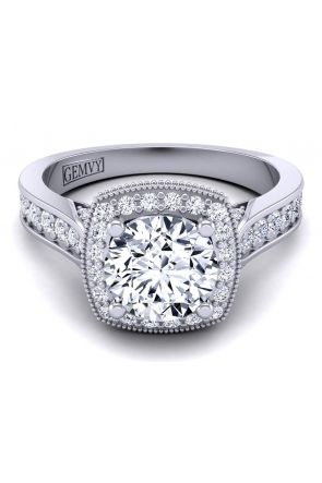 Platinum vintage style diamond semi-mount HEIR-1476-H HEIR-1476-H