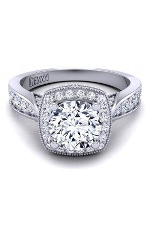 Slim antique style engagement custom diamond ring. HEIR-1476-J HEIR-1476-H-1