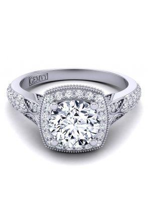 Unique 1 carat round cut halo engagement ring HEIR-1476-K HEIR-1476-K