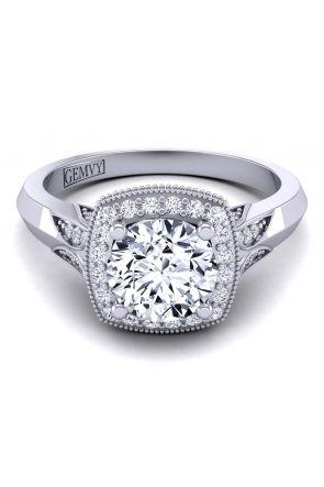 Vintage style halo diamond engagement ring HEIR-1476-L HEIR-1476-L