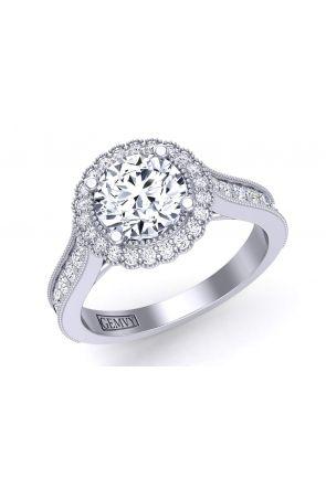 Milgrain pavé flower inspired halo diamond engagement ring HEIR-1539-HA HEIR-1539-HA
