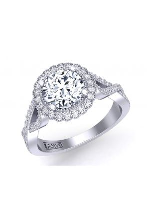 Twisted infinity band flower halo diamond engagement ring HEIR-1539-HB HEIR-1539-HB