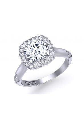 Unique band solitaire flower halo diamond engagement setting HEIR-1539-HF HEIR-1539-HF