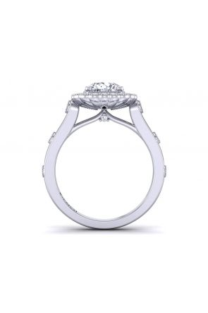 18k gold Bezel accent designer halo engagement ring HEIR-1539-HG HEIR-1539-HG