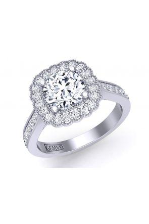 Vintage style pavé set halo ring with round milgrain halo HEIR-1539-HM HEIR-1539-HM