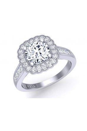 Princess-cut channel-set halo vintage style engagement ring HEIR-1539-HN HEIR-1539-HN