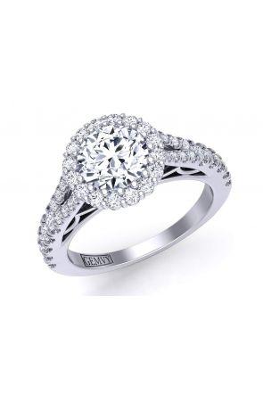 Split shank cathedral halo diamond engagement ring Mariposa-HA Mariposa-HA