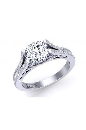 Double row pavé set cathedral diamond engagement ring Mariposa-SE Mariposa-SE