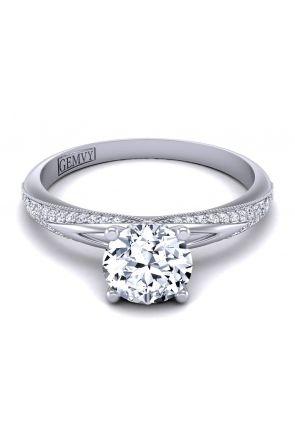 Petite modern pavé set artistic diamond semi mount PP-1173-A- PP-1173-A-1-1