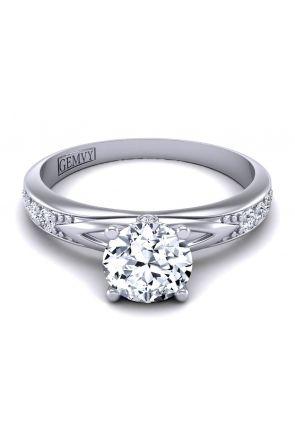 Unique milgrain encrusted pavé diamond ring PP-1173-B PP-1173-B