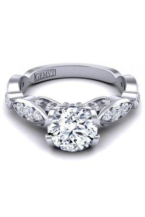 Bezel shank custom modern vintage style ring.PP-1247-A PP-1247-A
