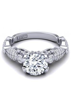 Custom micro pavé butterfly inspired diamond engagement ring. PP-1247-B PP-1247-B