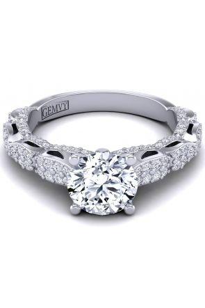 Custom butterfly inspired micro pavé diamond ring. PP-1289-C PP-1289-C