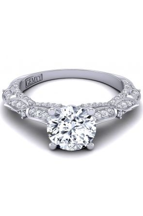 Pavé set butterfly collection prong set diamond ring PP-1289-E PP-1289-E