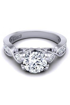 Custom designed marquise accent 3 stone diamond ring PP-1460-C PP-1460-C