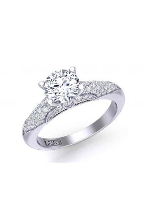 One-of-a-kind Classic micro-pavé 4-prong round-cut 2.6mm engagement ring PR-1470-12 PR-1470-12-1
