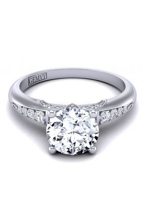 Petite modern design diamond engagement anniversary ring PR-1470-E PR-1470-E