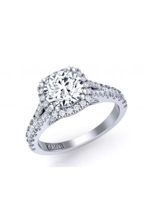 Split shank floating halo pavé  cathedral engagement ring PR-1470CH-A PR-1470CH-A