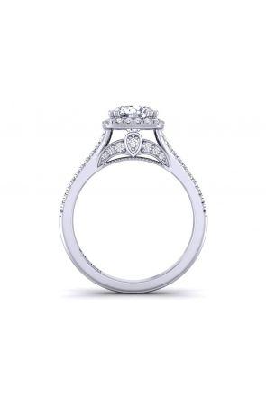 Modern Double row micro pavé round diamond halo engagement ring PR-1470CH-B PR-1470CH-B
