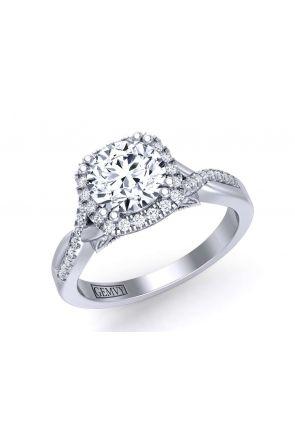 U-cut pavé unique twisted shank floating halo diamond engagement ring PR-1470CH-C PR-1470CH-C