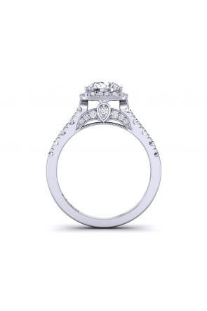 Double claw prongs pavé halo diamond engagement ring  PR-1470CH-F PR-1470CH-F