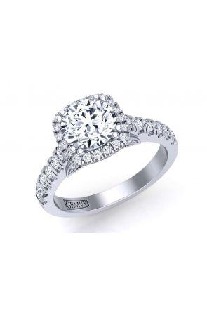 2.4mm platinum unique pavé set halo engagement ring PR-1470CH-G PR-1470CH-G