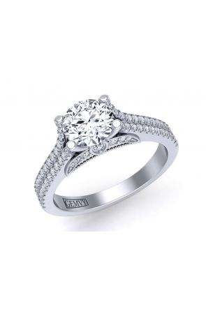 Double row split shank designer diamond engagement ring PR-1470CS-C PR-1470CS-C