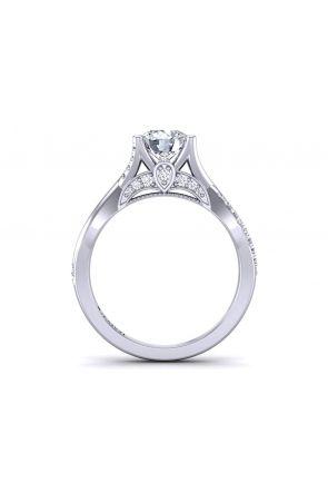 Infinity twisted band pavé solitaire diamond engagement ring  PR-1470CS-F PR-1470CS-F