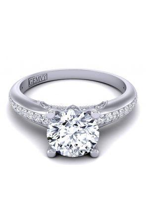 Unique petite princess inspired pavé wedding ring PR1470-4 PR1470-4