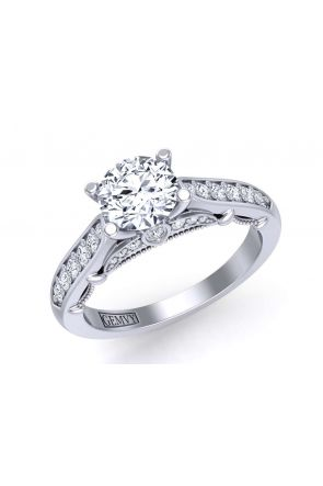Unique modern bright set pavé  engagement ring PRT-1470-TD PRT-1470-TD