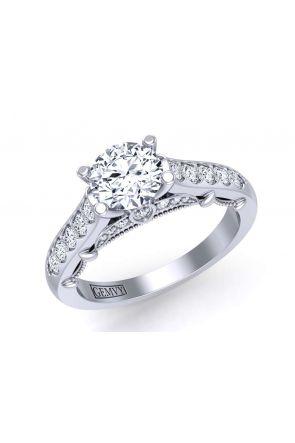 Elegant exquisite patterned pavé set diamond ring PRT-1470-TF PRT-1470-TF