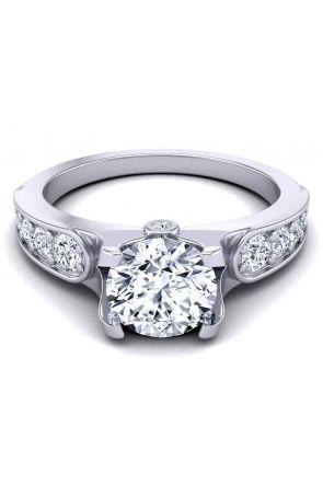 Minimalist ultra-modern graduated diamonds round 2.4mm engagement ring SW-1070-C SW-1070-C
