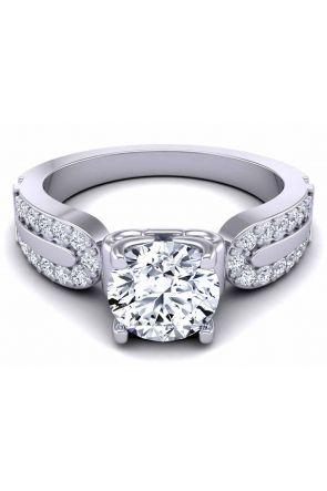 Wide band 4-prong pavé set Platinum gold 3.6mm engagement ring SW-1440-A SW-1440-A