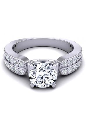 Wide band two--row pavé set Modern 3.8mm engagement ring SW-1440-B SW-1440-B