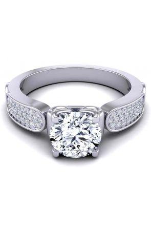 Elegant three-row micro-pavé swan inspired 3.2mm engagement ring SW-1440-C SW-1440-C