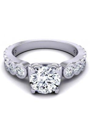 Unique bezel channel-set graduated diamond 4-prong 3mm engagement ring SW-1440-D SW-1440-D