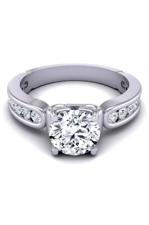 Channel set graduated diamond wide band modern 3.1mm engagement ring SW-1440-E SW-1440-E
