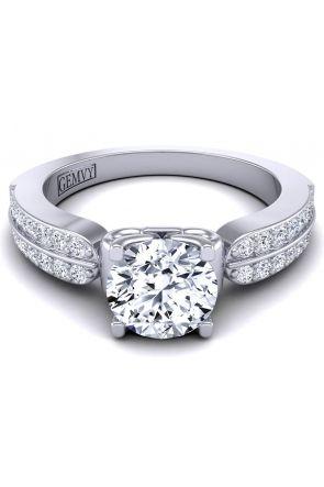 Double row pavé custom diamond engagement ring. SW-1440-G SW-1440-G