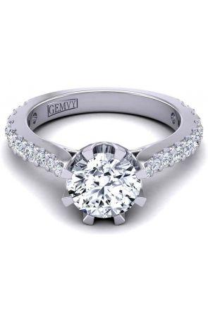Graduated diamond slim band u-cut pavé side diamond solitaire 2.6mm engagement ring SW-1450-B SW-1450-B