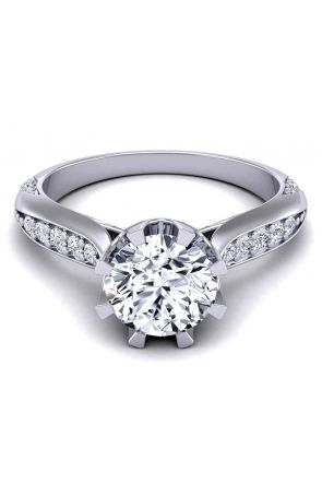 Swan inspired elegant tapered shank cathedral style eight-prong 2mm engagement ring SW-1450-D SW-1450-D