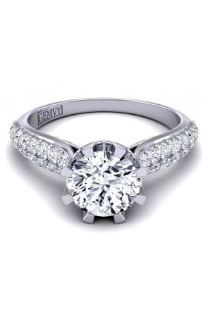 Luxury curvy micro-pavé cathedral style eight-prong 2.8mm setting SW-1450-E SW-1450-E