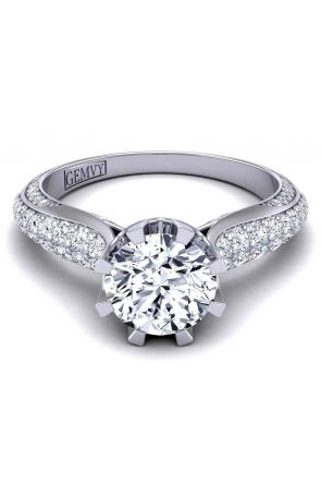 Wide band luxury micro-pavé swan inspired 2.8mm engagement ring SW-1450-F SW-1450-F