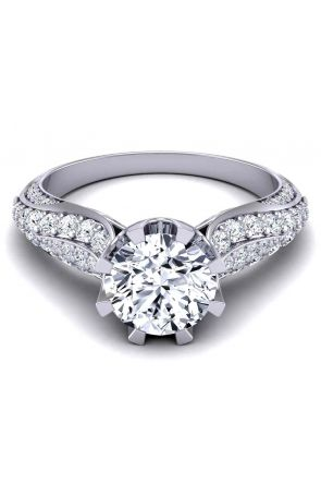 High-end luxury surface pavé eight-prong 3mm bold engagement ring SW-1450-G SW-1450-G