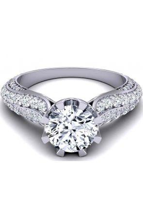 8-prong luxury pavé-set round diamond 3.5mm engagement ring SW-1450-H SW-1450-H